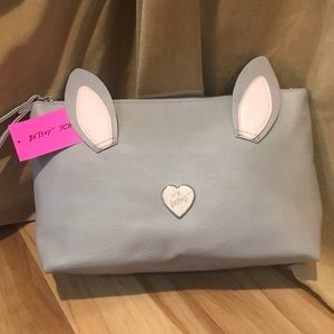 Betsey Johnson bunny cosmetic bag NWT unattached